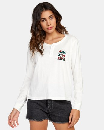 0 Stakes Are High Long Sleeve Henley T-Shirt White W479WRST RVCA