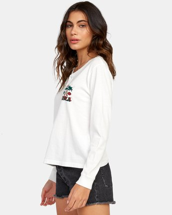 1 Stakes Are High Long Sleeve Henley T-Shirt White W479WRST RVCA