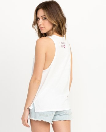 2 Michelle Blade Walkers Tank Top White W498QRWA RVCA