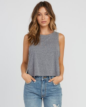 0 Label Cropped Tank Top Grey W499SRLA RVCA