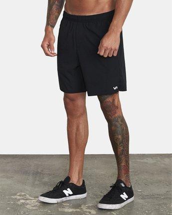 "3 Yogger IV 17"" - Workout Shorts for Men Black W4WKMLRVP1 RVCA"