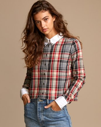 0 Rex Plaid Button-Up Shirt Red W501VRRE RVCA
