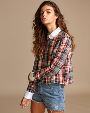 1 Rex Plaid Button-Up Shirt Red W501VRRE RVCA