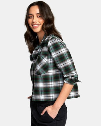 3 Daten Plaid Button-Up Shirt Black W501WRDA RVCA