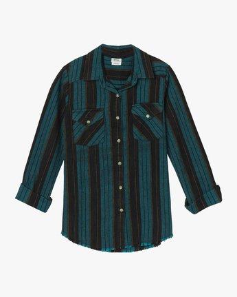5 Arch Striped Button-Up Flannel Top Blue W502QRAR RVCA