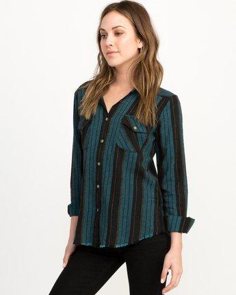 1 Arch Striped Button-Up Flannel Top Blue W502QRAR RVCA