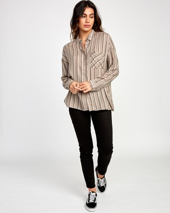 4 Hera Oversized Button-Up Shirt Grey W504VRHE RVCA