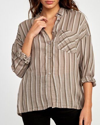 2 Hera Oversized Button-Up Shirt Grey W504VRHE RVCA