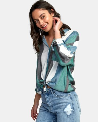 2 Hera Oversized Button-Up Shirt Green W504WRHE RVCA