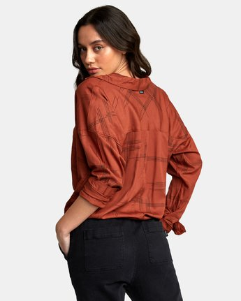 2 Hera Oversized Button-Up Shirt Red W504WRHE RVCA