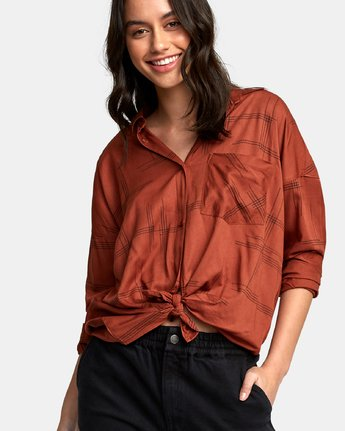 3 Hera Oversized Button-Up Shirt Red W504WRHE RVCA