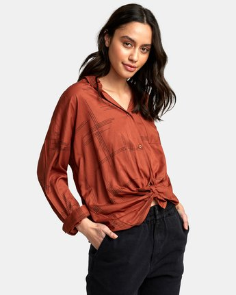 0 Hera Oversized Button-Up Shirt Red W504WRHE RVCA