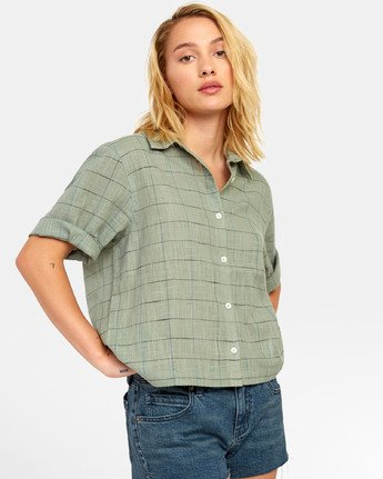 1 FOREIGN BUTTON-UP SHIRT Green W5071RFO RVCA