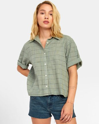 2 FOREIGN BUTTON-UP SHIRT Green W5071RFO RVCA