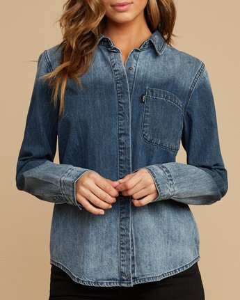 4 Unearthed Washed Denim Shirt Blue W508QRUN RVCA