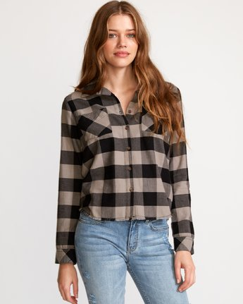 0 Jordan Plaid Button-Up Shirt Black W508VRJO RVCA