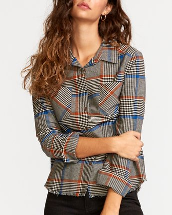 3 Jordan Plaid Button-Up Shirt Grey W508VRJO RVCA