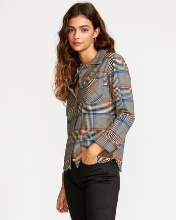1 Jordan Plaid Button-Up Shirt Grey W508VRJO RVCA