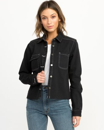 0 Daze Denim Button-Up Top Black W509QRDA RVCA