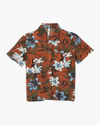 5 Adventure Club Floral Button-Up Shirt Red W509TRAC RVCA