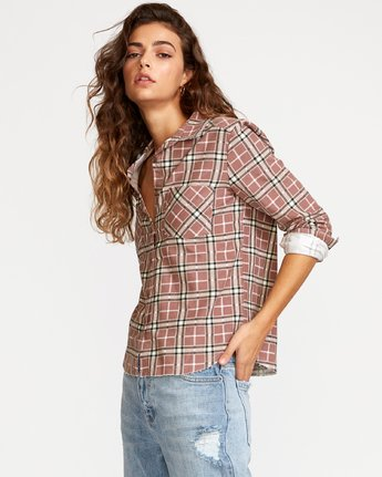 3 Jord Corduroy Plaid Shirt White W509VRJC RVCA