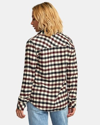 3 Aspen Plaid Flannel Shirt Black W509WRAS RVCA