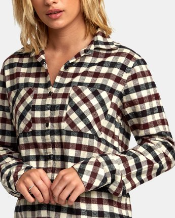 4 Aspen Plaid Flannel Shirt Black W509WRAS RVCA