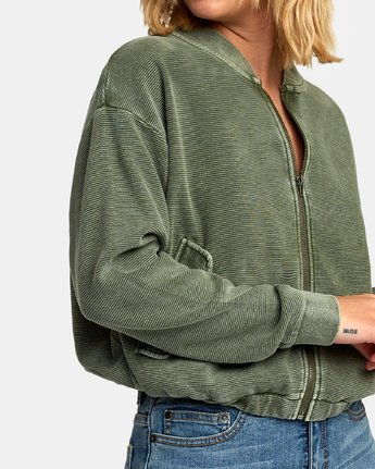 3 Flock Ribbed Bomber Jacket Green W601WRFL RVCA