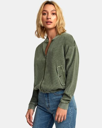 2 Flock Ribbed Bomber Jacket Green W601WRFL RVCA