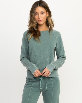 0 Shadethrow Fleece Sweatshirt Green W604QRSH RVCA