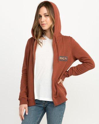 1 Octane Zip Up Hoodie Brown W616QROC RVCA