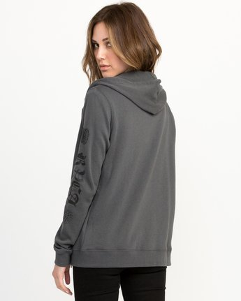 2 JeanJean Rose & Roses Zip-Up Hoodie Grey W616QRRO RVCA