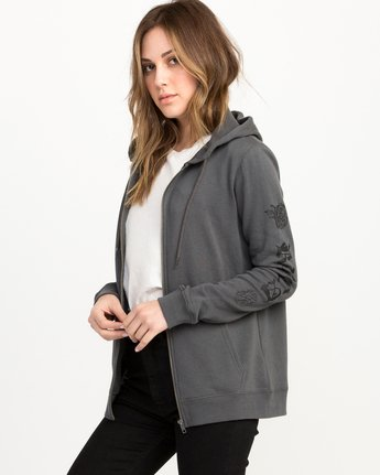 1 JeanJean Rose & Roses Zip-Up Hoodie Grey W616QRRO RVCA