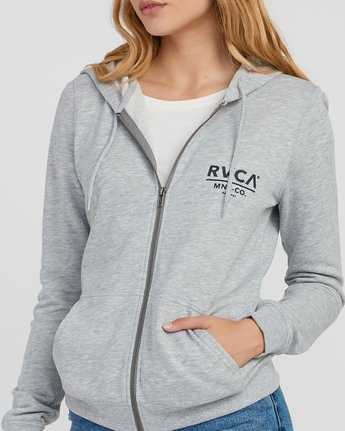 3 Mascot Zip Up Hoodie Grey W616SRMA RVCA