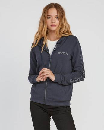 0 Pinned Zip Up Hoodie Grey W616SRPI RVCA