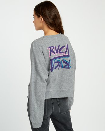 3 Offset Fleece Pullover Sweatshirt Grey W627UROF RVCA