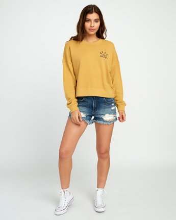 5 Rose State Fleece Pullover Sweatshirt Yellow W627URRO RVCA