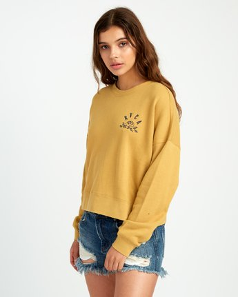 2 Rose State Fleece Pullover Sweatshirt Yellow W627URRO RVCA