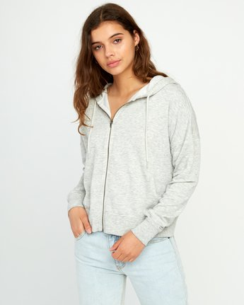 0 Fontana Fleece Zip-Up Hoodie Grey W629URFO RVCA