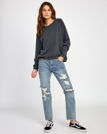 4 Everyday Label Sweatshirt Black W634VREV RVCA