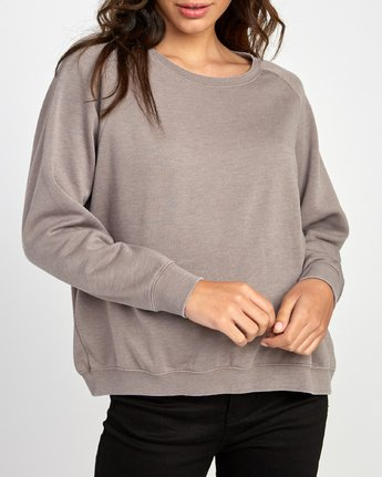 4 Everyday Label Sweatshirt Grey W634VREV RVCA