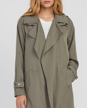 3 Mac Draped Trench Coat Green W701SRMA RVCA