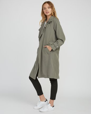 1 Mac Draped Trench Coat Green W701SRMA RVCA