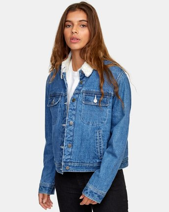 0 Spitting Image Denim Jacket Blue W702WRSI RVCA