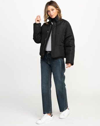 5 Eezeh Puffer Cropped Jacket Black W703QREE RVCA
