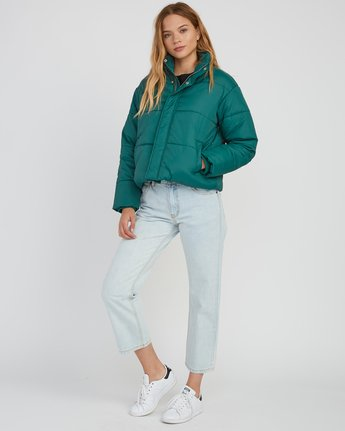 5 Eezeh Puffer Cropped Jacket Green W703QREE RVCA