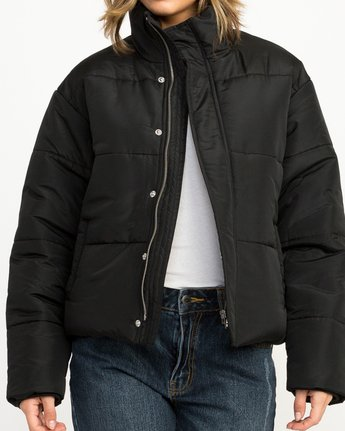 4 Eezeh Puffer Cropped Jacket Black W703QREE RVCA