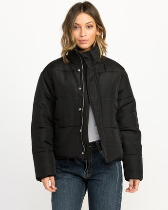 1 Eezeh Puffer Cropped Jacket Black W703QREE RVCA