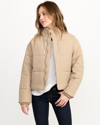 1 Eezeh Puffer Cropped Jacket White W703QREE RVCA
