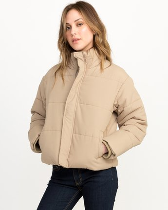 2 Eezeh Puffer Cropped Jacket White W703QREE RVCA